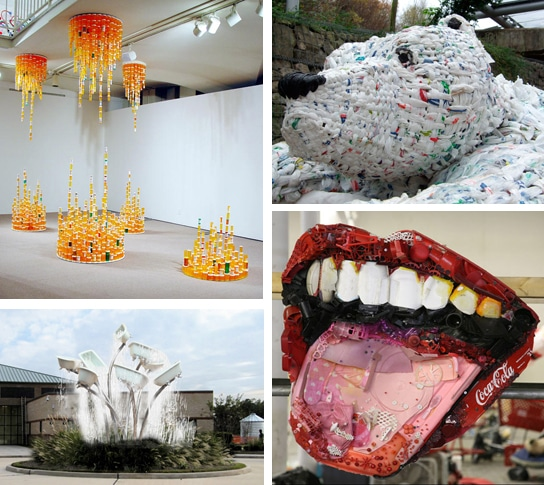 different art mediums trash art installation
