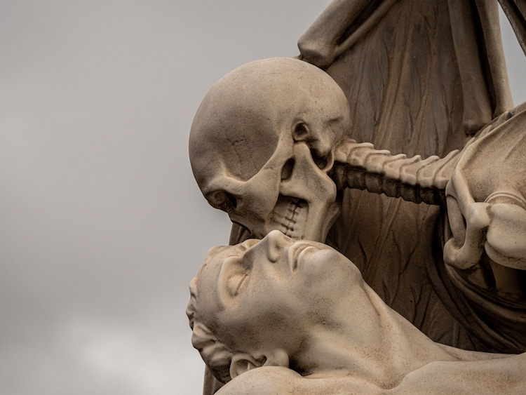 Close Up of Cemetery Sculpture in Barcelona