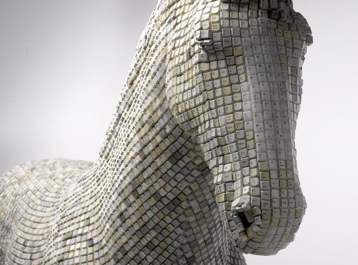 Trojan Horse Sculpture Computer Keyboard Keys Babis Pangiotidis