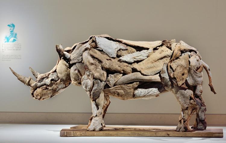 Rhino Driftwood Sculpture
