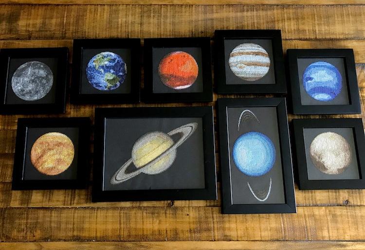 Planetary Cross-Stitch of Solar System by Navid Baraty