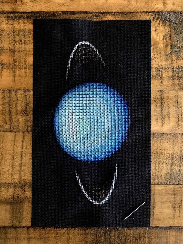 Planetary Cross-Stitch of Uranus by Navid Baraty