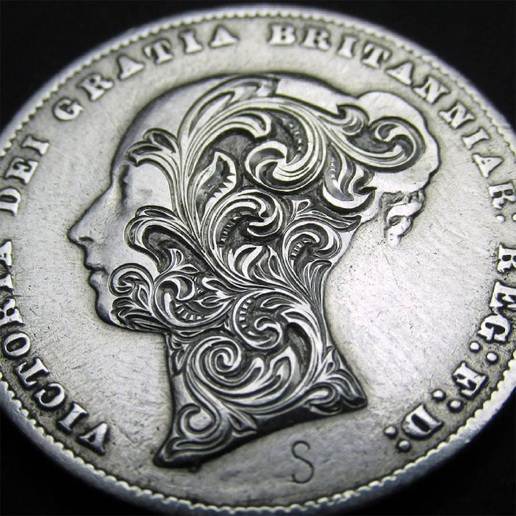 Artist Hand-Engraves International Coins with Floral Scroll