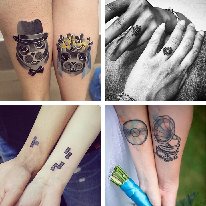 553e8282e 15 Couples' Matching Wedding Tattoos Visually Honoring Their Marriage Vows