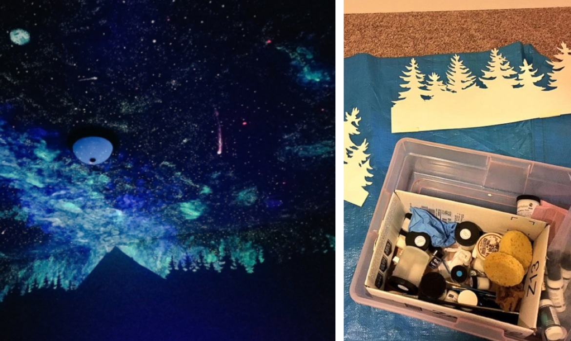 crispin young wilson archives my modern met artist paints spectacular glow in the dark galaxy ceiling to help 4 year old sleep
