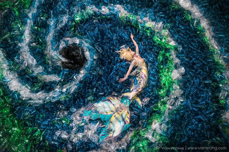 benjamin von wong plastic pollution mermaids hate plastic