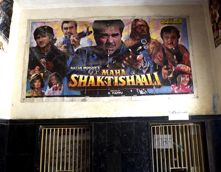 Bollywood Posters on Movie Theater Walls.