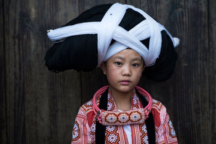 Girl from Long Horn Miao ethnic group, which is recognized by the government of China as one of the 55 official minority groups.