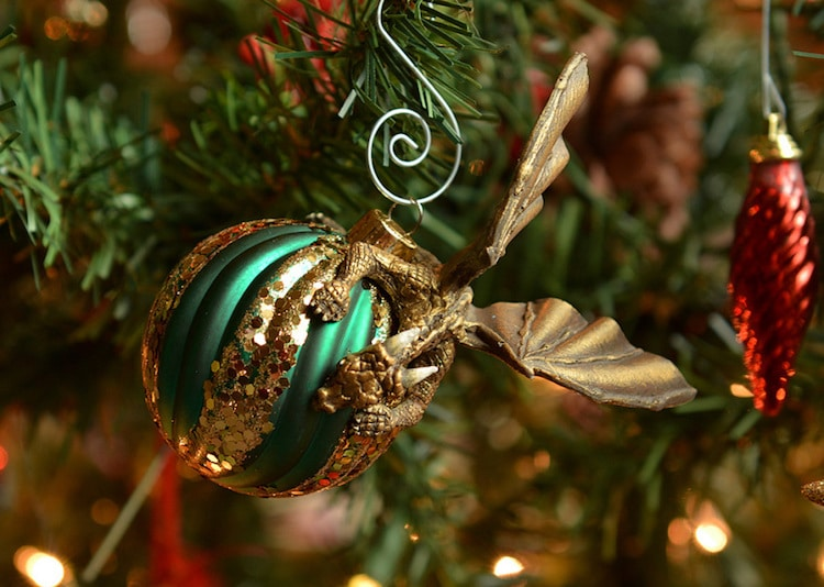 dragon ornaments protect colorful holiday baubles like