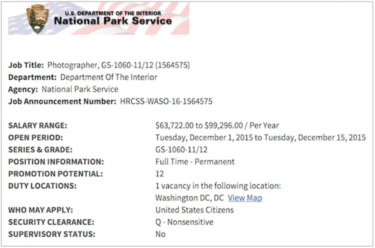 US Government Offering 100k for Photographer Position Once Held