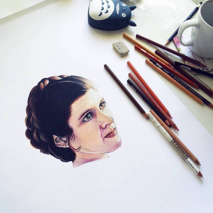 Artist homages of Carrie Fisher as Princess Leia