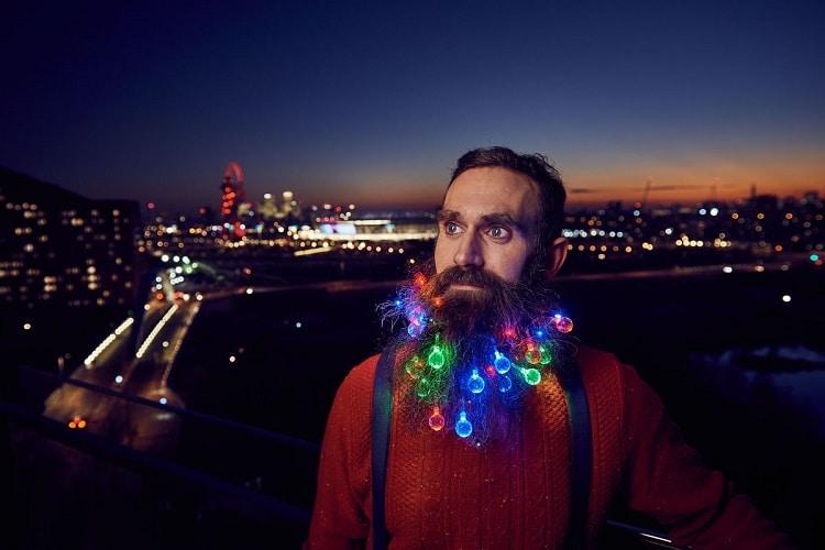 Festive holiday beard lights
