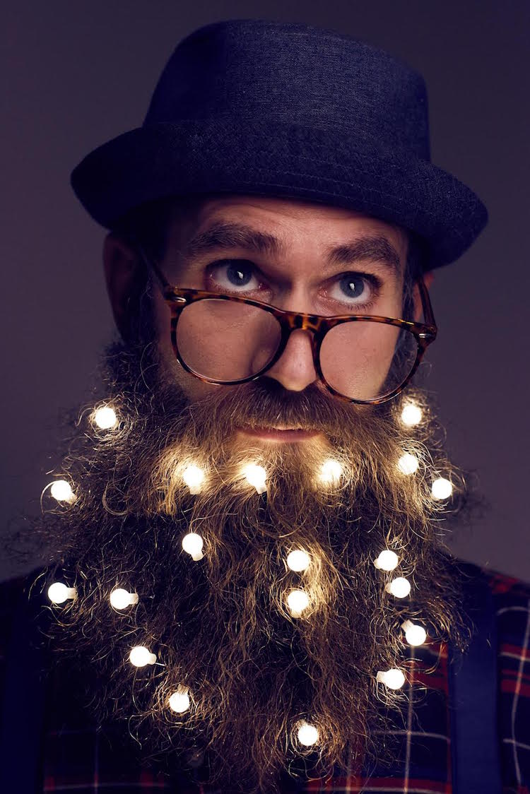 Festive holiday beard lights