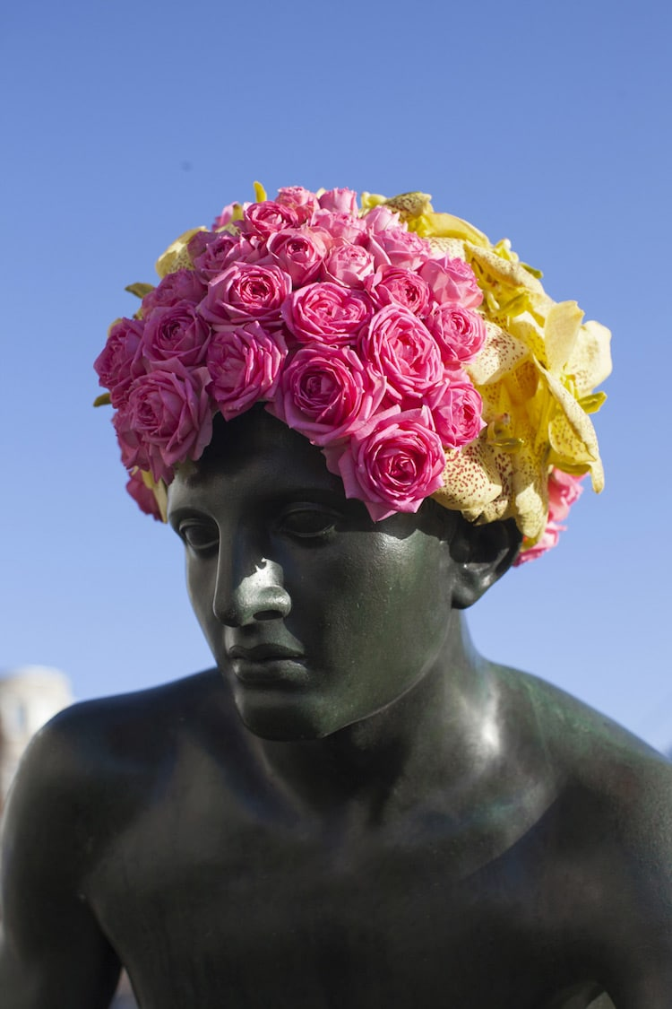 Flowers on public statues