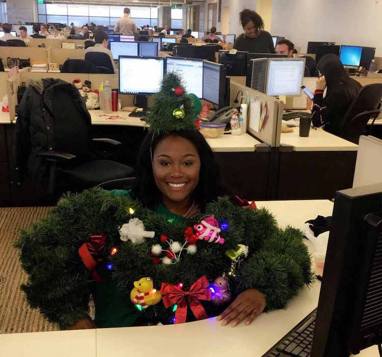 maya moore ugly christmas sweater office contest second place