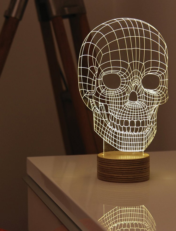 Optical Illusion Skull Lamp by Nir Chehanowski for MoMA | $120.00words