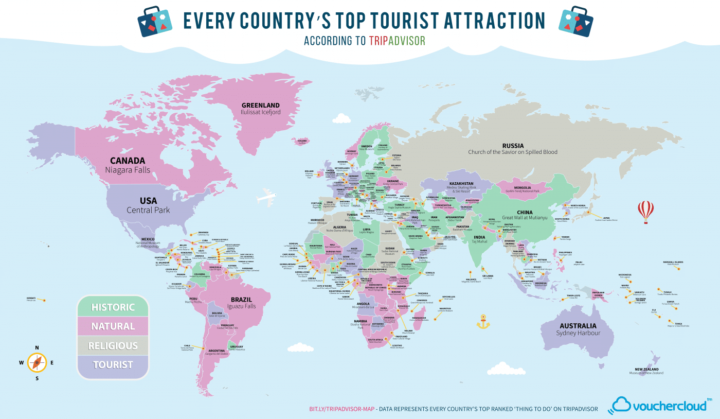 Tourist Attraction Of Every Country In The World On One Map - Canada map in world map
