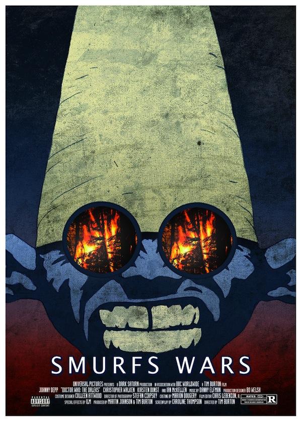 Scary Smurfs by Marcelo Braga.