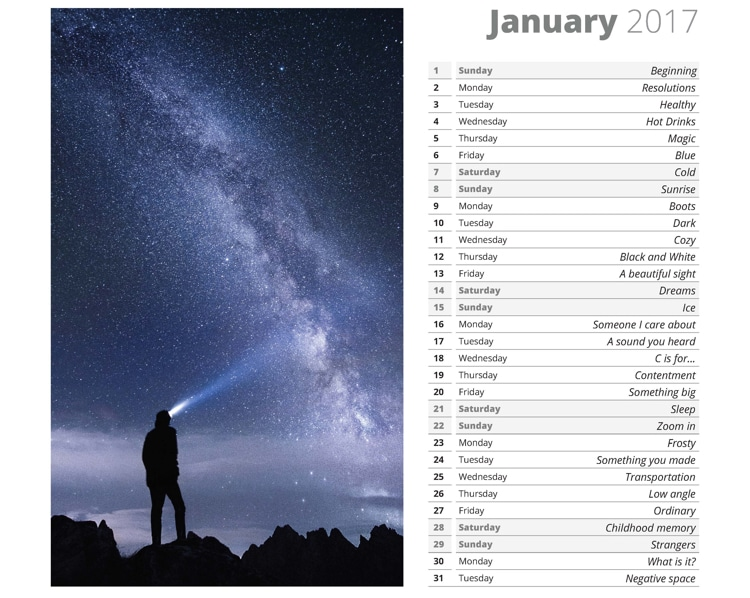 photo challenge free 2017 calendar