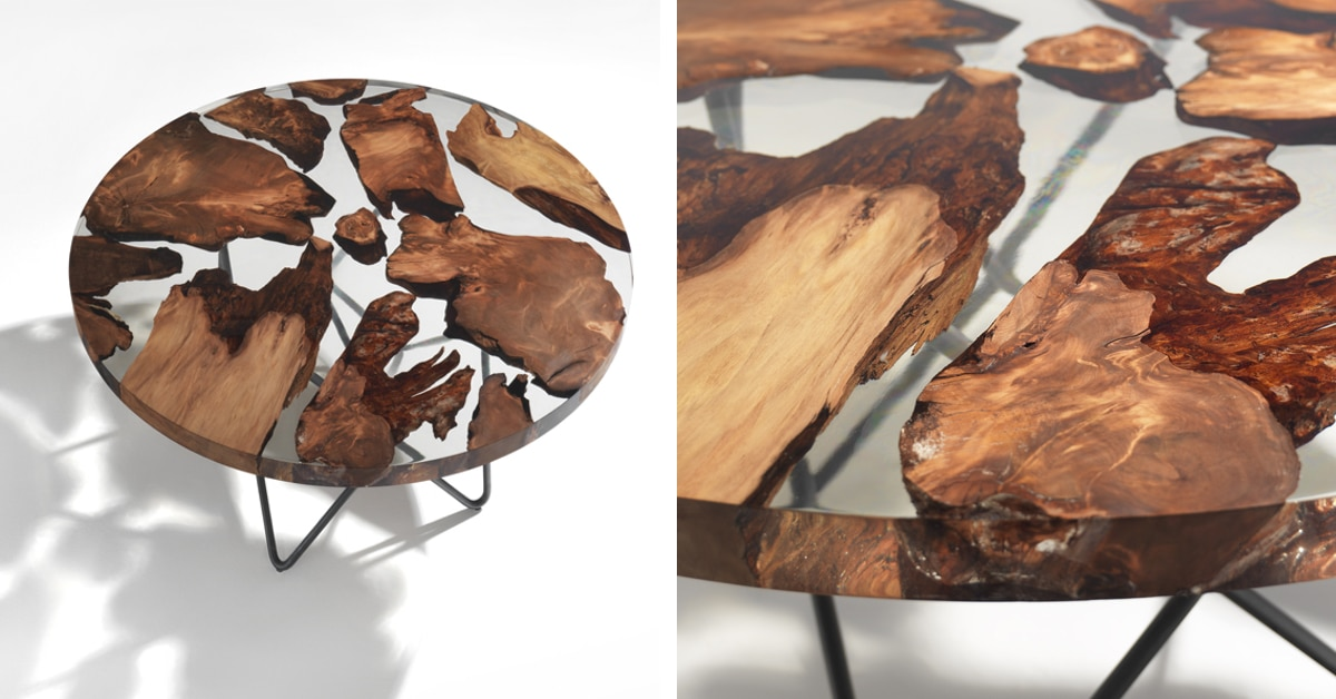 Sculptural Resin Table Made from 50,000-Year-Old Kauri Wood