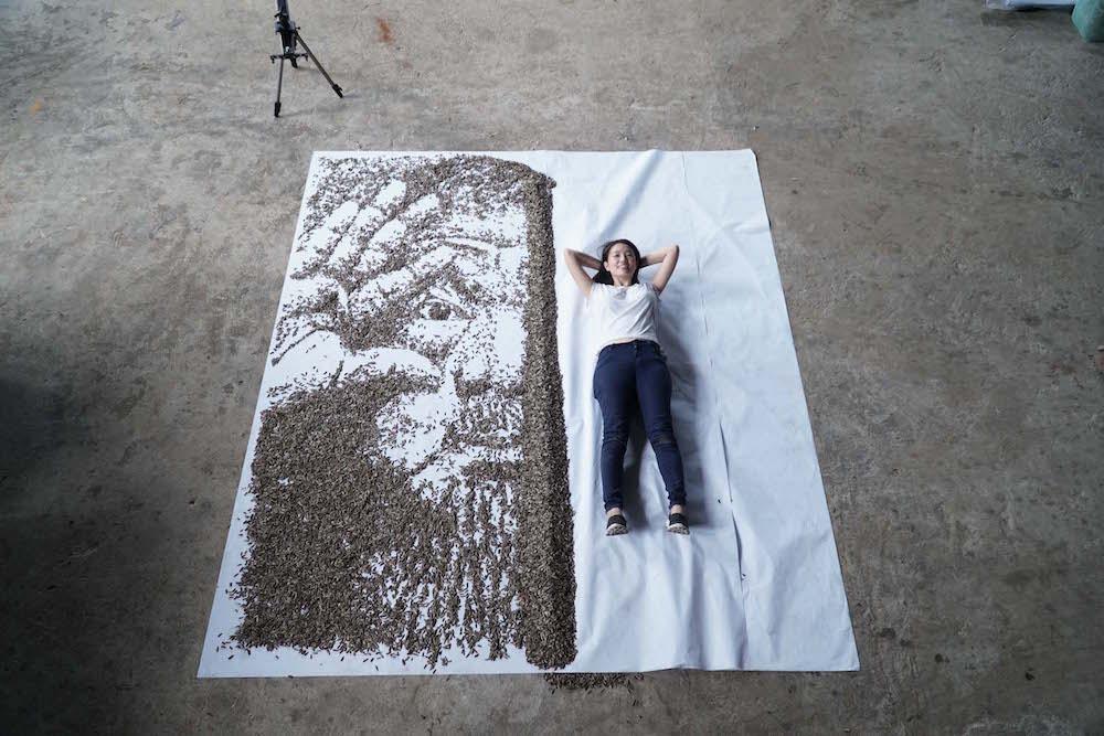 ai weiwei portrait sunflower seeds red hong yi