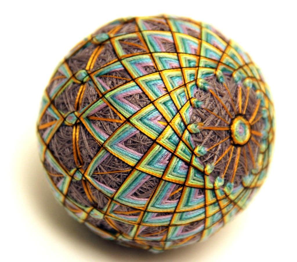 Temari ball with geometric pattern