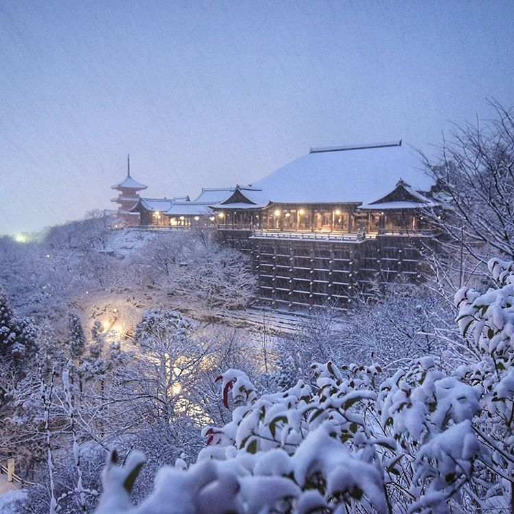 heavy snow kyoto winter japan
