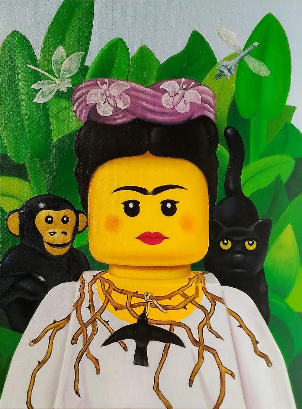 frida kahlo LEGO art painting stefano bolcato