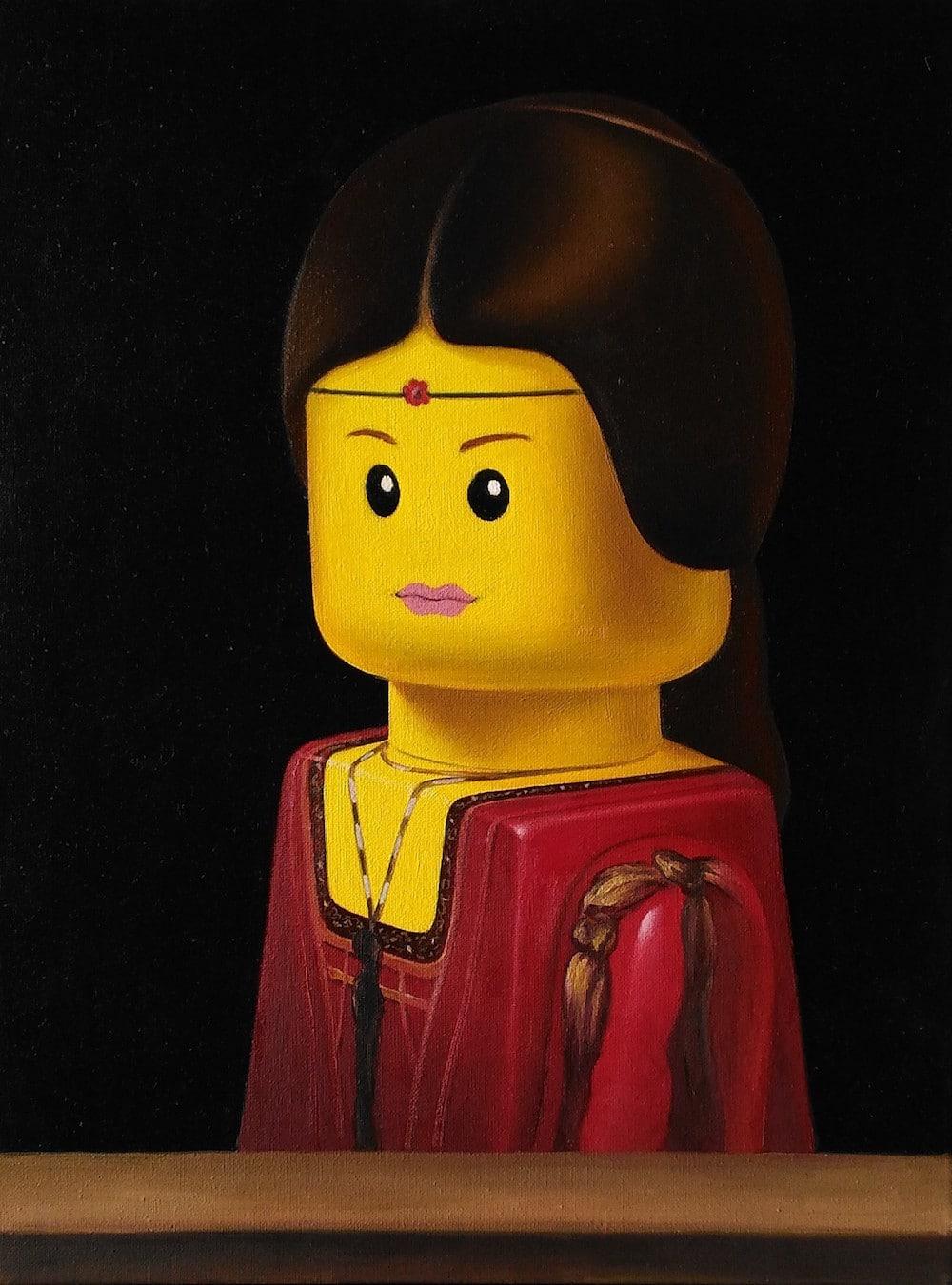Leonardo LEGO art painting stefano bolcato