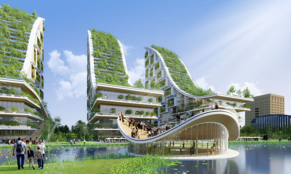 crazy conceptual design for biomimetic eco village in belgium