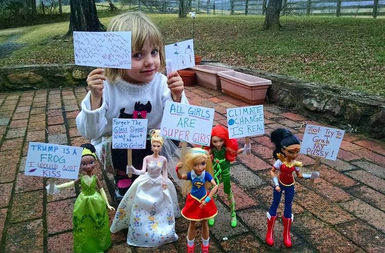 Four-Year-Old Creates a Doll Protest March Alongside Women's March