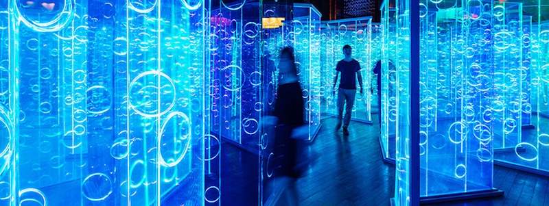 brute deluxe rainbow labyrinth light installation