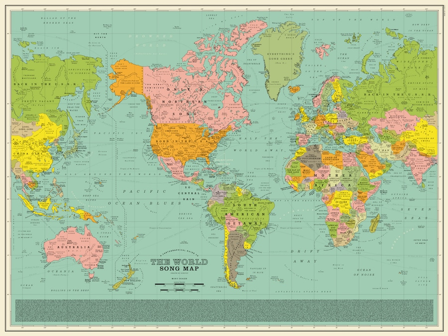 Full Map Of The World.World Song Map Lists 1 000 Songs As Names Of Countries And Cities