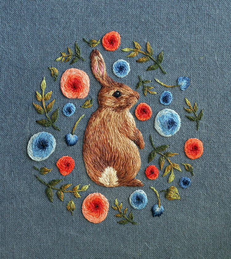 bright sunny embroidery winter blues spring flowers animals