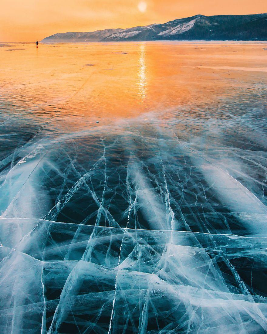 frozen lake baikal in siberia