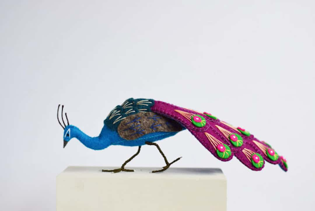 Felt Birds Sculptures With Detailed Peacock Feathers by Jill Ffrench