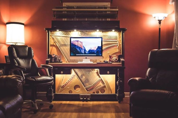 Old Piano Transformed via DIY into a Stunning Piano Desk