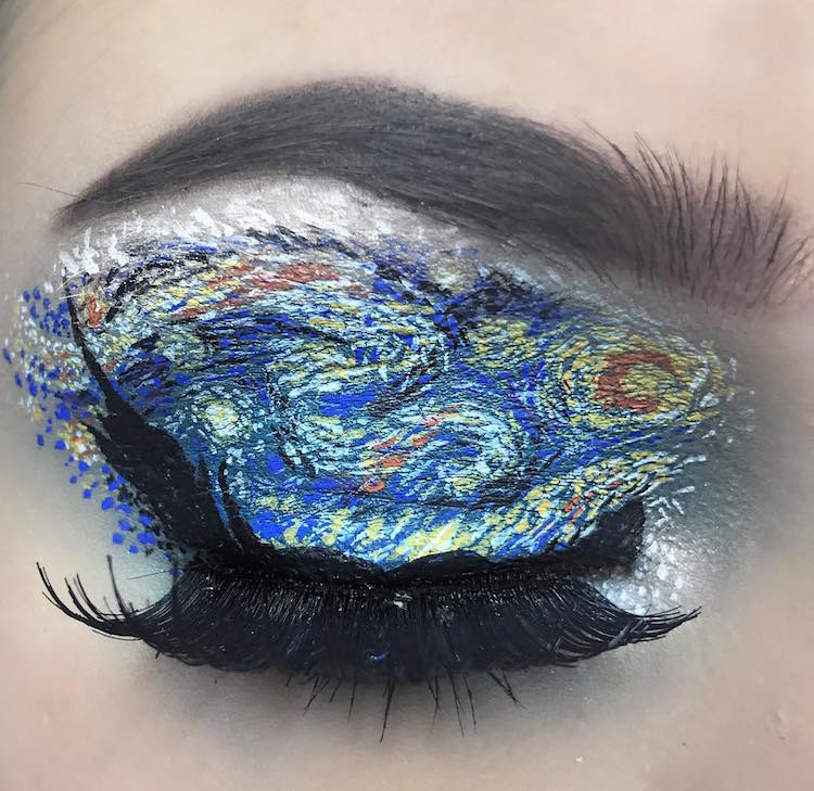 eye makeup artist starry night van gogh eyelid