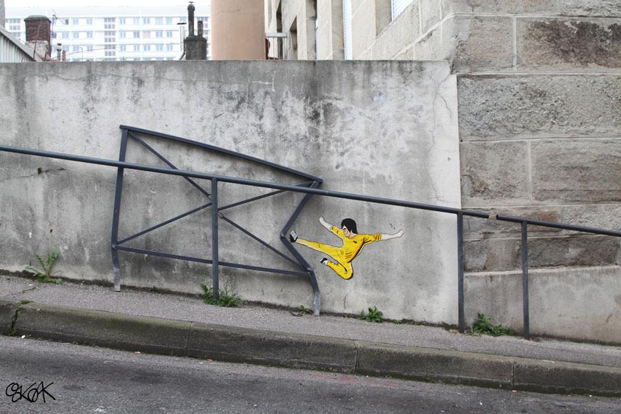 15 Playful Street Artists - Oak Oak using Bruce Lee in street art