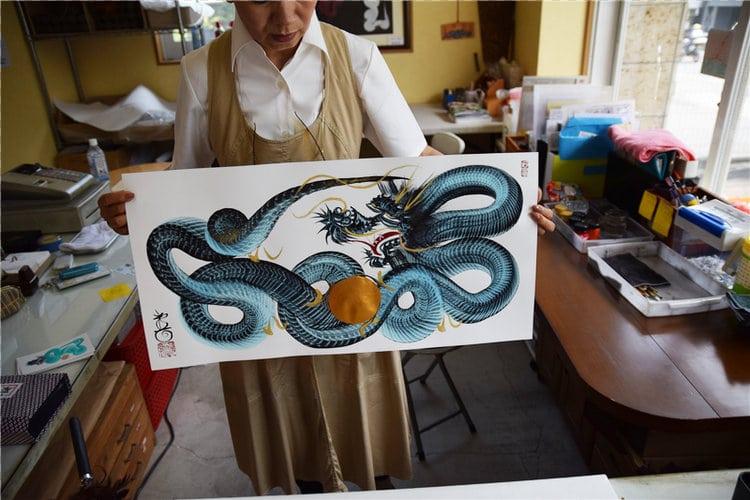 Hitofude Ryuu single stroke painting dragon ippitsuryu sumi-e painting