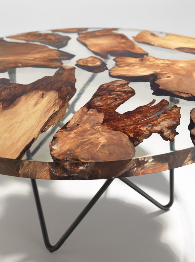 sculptural resin table made from 50 000 year old kauri wood. Black Bedroom Furniture Sets. Home Design Ideas