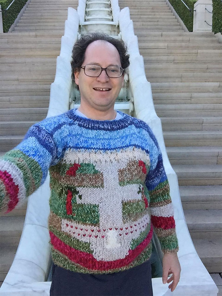 Knitted postcard sweaters