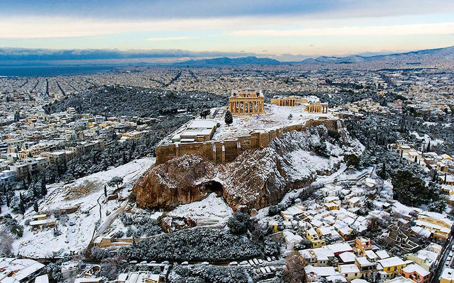 Snow Covered Acropolis