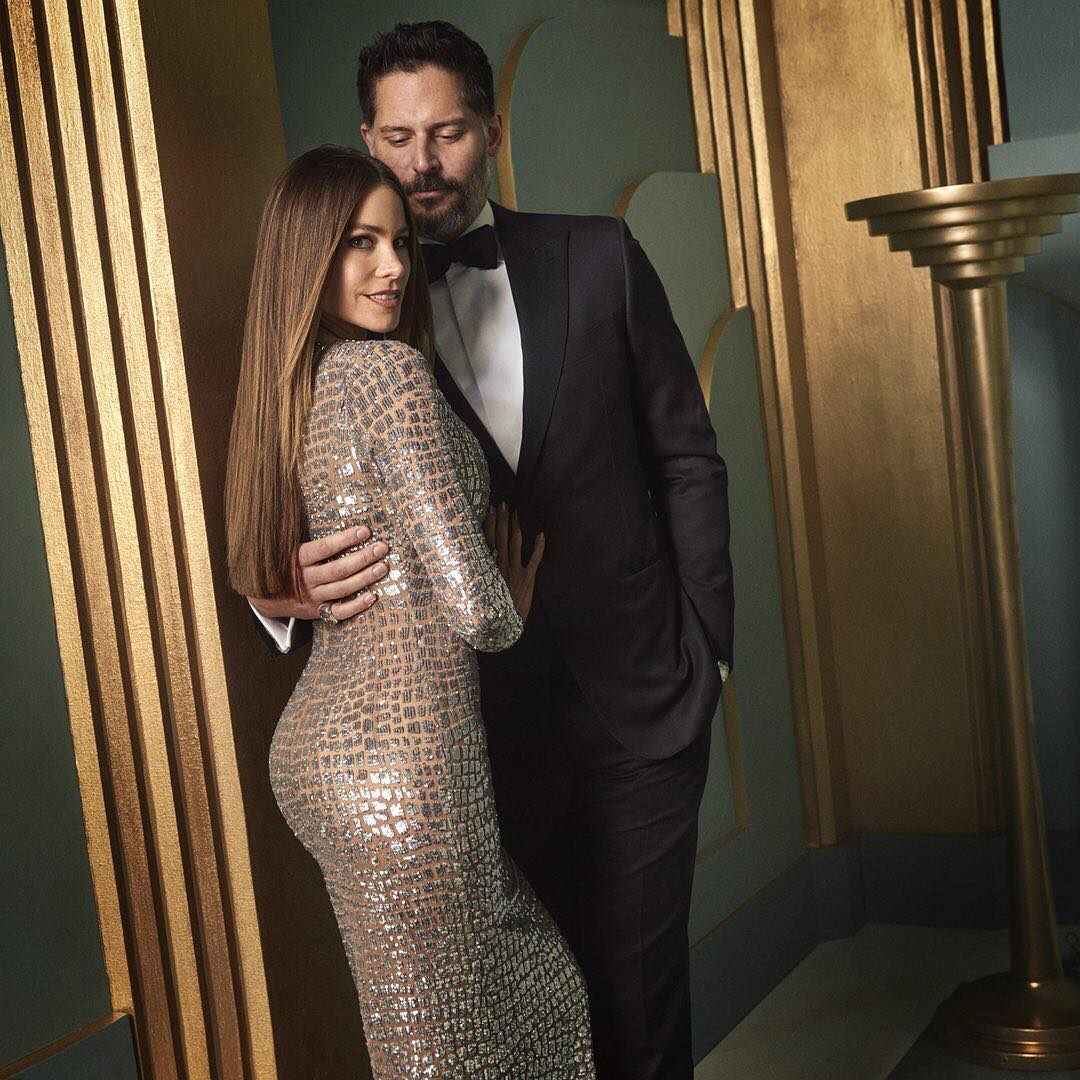 Sofia Vergara and Joe Manganiello at the 2017 Vanity Fair Oscar Party Portraits