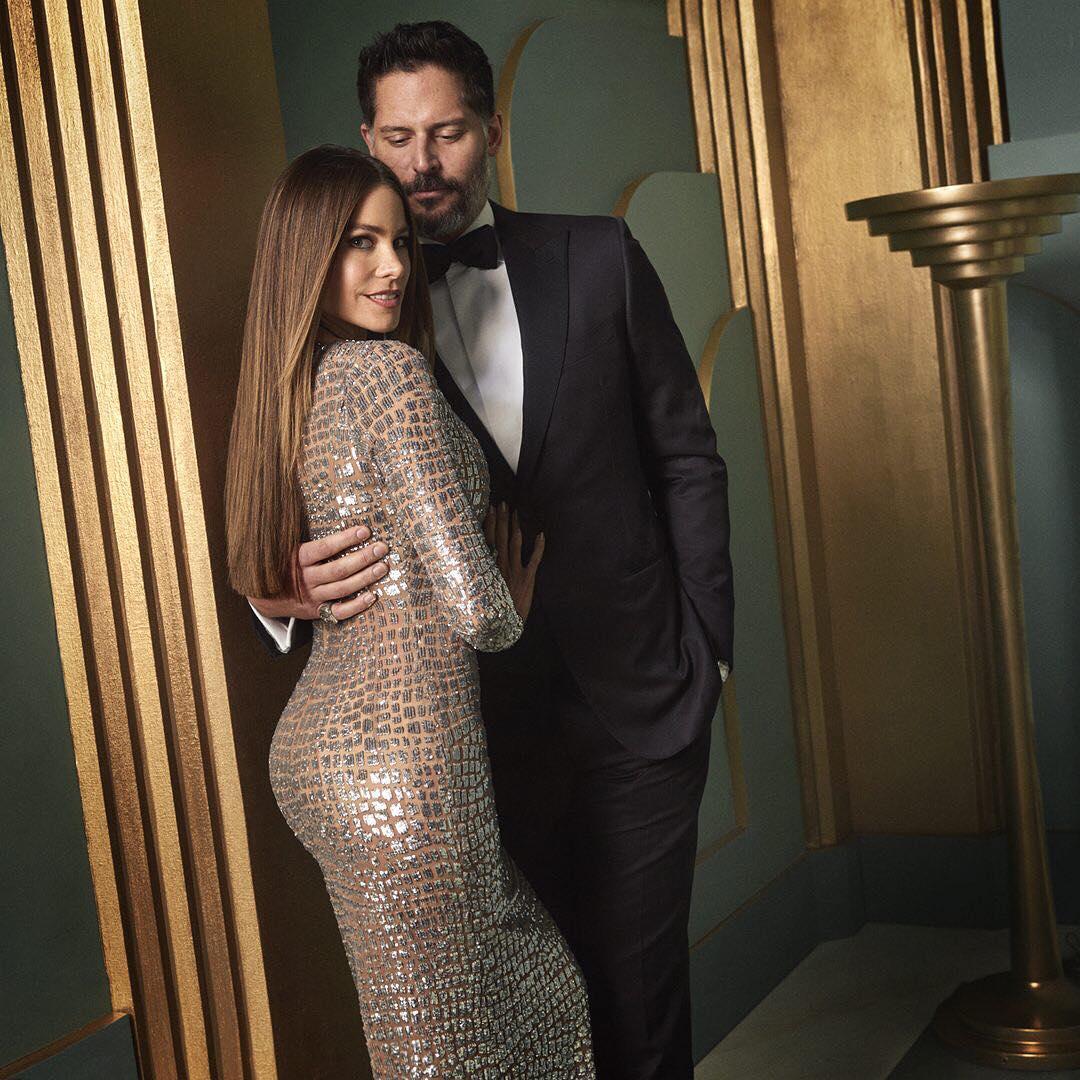 Sofia Vergara and Joe Manganiello at the 2017 Vanity Fair Oscar Party Portraits