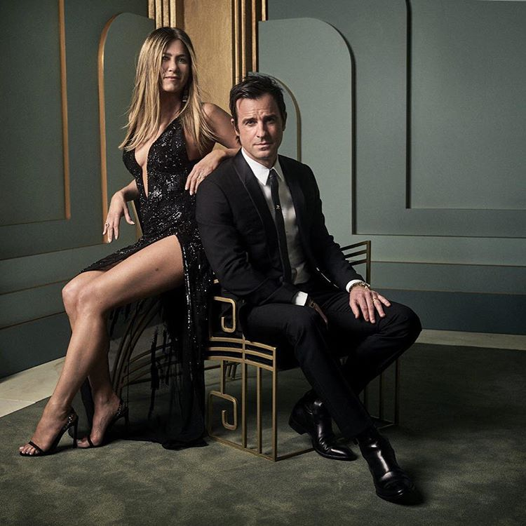 Jennifer Aniston and Justin Theroux at the 2017 Vanity Fair Oscar Party Portraits
