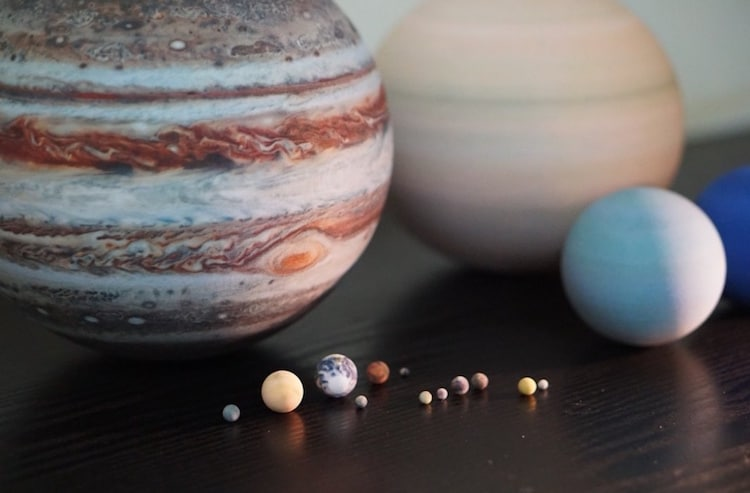 3D printed solar system models
