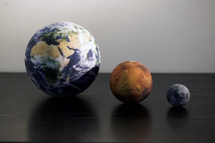 3D printed models of the solar system
