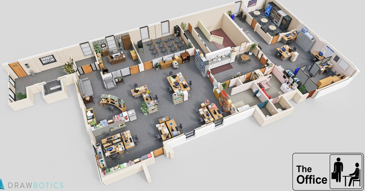 Cool 3d tv show floor plans of your favorite tv offices for Office desk layout planner