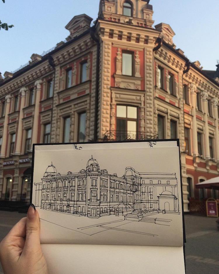 architectural sketching adelina gareeva